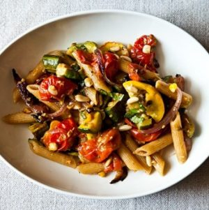 """When a Vegan Comes to Dinner"": Penne with Sweet Summer Vegetables, Pine Nuts, and Herbs"