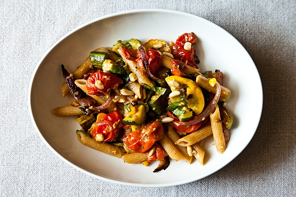 "... to Dinner"": Penne with Sweet Summer Vegetables, Pine Nuts, and Herbs"