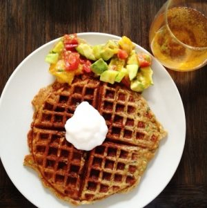 Sunday Brunch: Gluten Free, Vegan Bread Zucchini Waffles with Mango, Avocado, and Heirloom Tomato Salad
