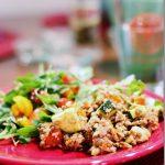 Easy, Healthy Entrée: Brown Rice, Sweet Potato, and Puy Lentils with Hemp Seeds & Vinaigrette