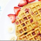 gluten free vegan strawberry pumpkin waffles