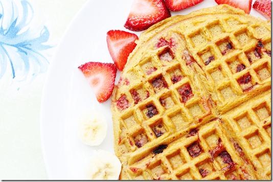 gluten free vegan strawberry pumpkin waffles