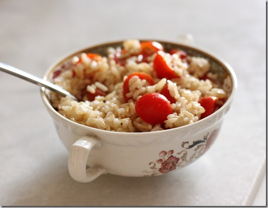 brown rice with cherry tomatoes and lemon
