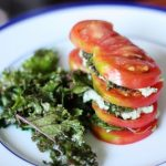 Heirloom Tomato, Kale and Basil Pumpkin Seed Napoleon