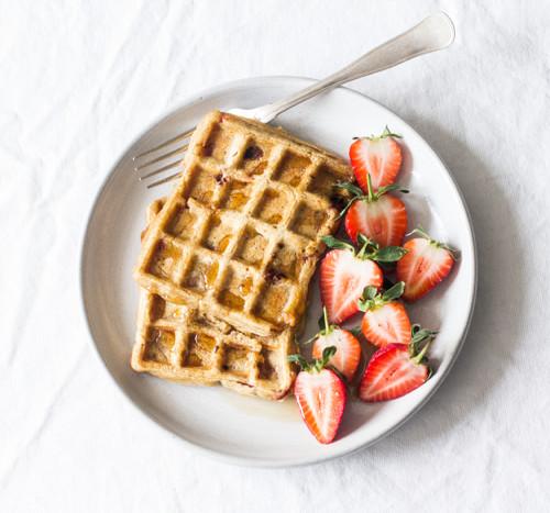 Vegan, Gluten Free Strawberry Pumpkin Waffles | The Full Helping