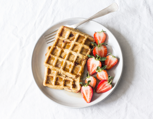 Vegan, Gluten Free Strawberry Pumpkin Waffles | The Full Helping