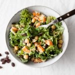 Carrot Raisin Kale Salad with Creamy Curry Dressing