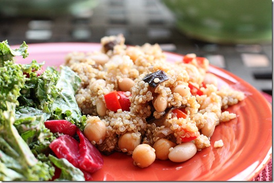 Quinoa with Roasted Eggplant, Red Peppers, and Balsamic Vinaigrette | The Full Helping