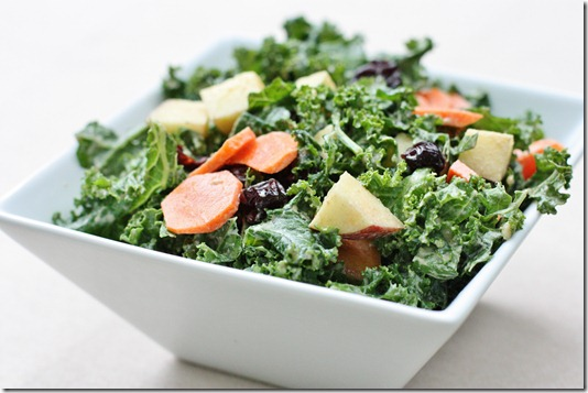 Carrot Raisin Kale Salad with Creamy Curry Dressing | The Full Helping
