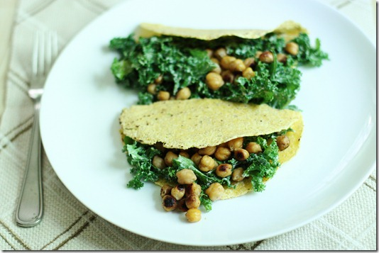 Tortillas with Creamy Kale and Toasted Chickpeas