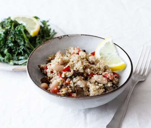 Quinoa with Roasted Eggplant, Red Peppers & Balsamic Vinaigrette | The Full Helping