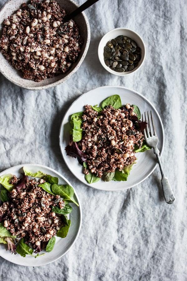 Red Quinoa, Pumpkin Seed, and Tahini Salad | The Full Helping