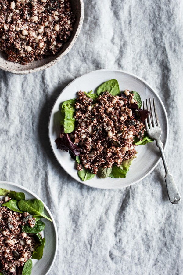 Red Quinoa, Pumpkin Seed, and Tahini Salad | The Full Helping