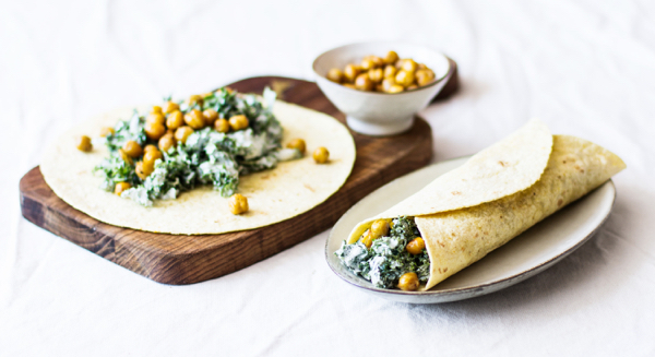 Tortillas with Creamy Chickpeas and Kale | The Full Helping
