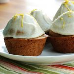 Vanilla Lemon Ginger Cupcakes with Coconut Cashew Frosting. Vegan and Gluten Free.