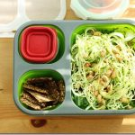 Packed Lunch: Zucchini Pasta with Chickpea Dressing and Roasted Soy Beans. And a Smattering of Healthy Snacks.
