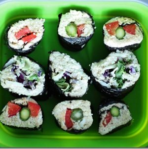 Lunchbox Highlight: Raw Nori Rolls with Veggies and Hempseed Dressing