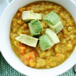 "Easy Curried Yellow Lentils with Avocado ""Croutons"""