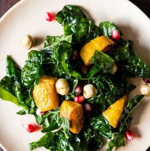 Tips for Making Hearty Winter Salads and Kale Salad with Kabocha Squash, Pomegranate Seeds, and Toasted Hazelnuts