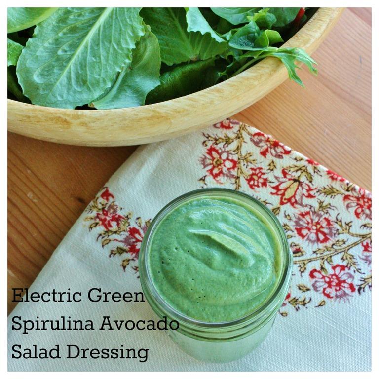 Electric Green Spirulina Avocado Salad Dressing | The Full Helping