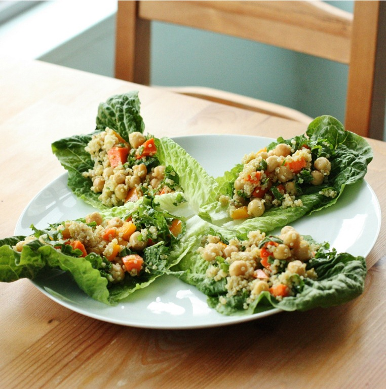 ... Vegan: Confetti Quinoa and Chickpea Lettuce Wraps | The Full Helping