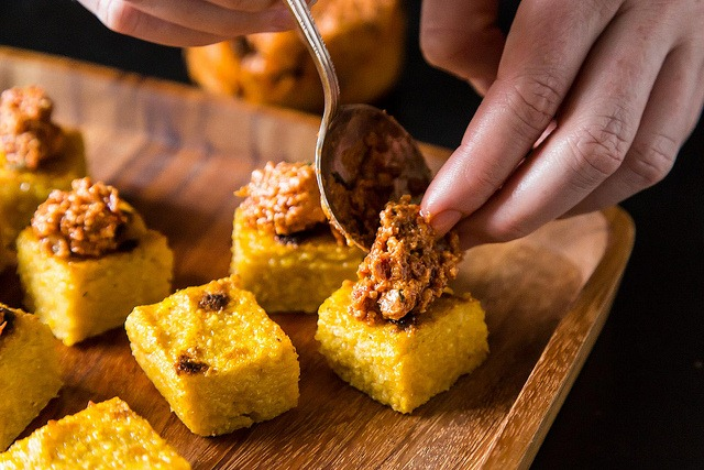 ... Entertaining: Polenta Squares with Sundried Tomato and Walnut Tapenade