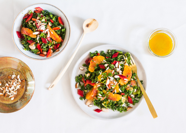 Blood Orange Kale Salad with Almonds | The Full Helping