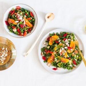 Blood Orange Kale Salad with Almonds