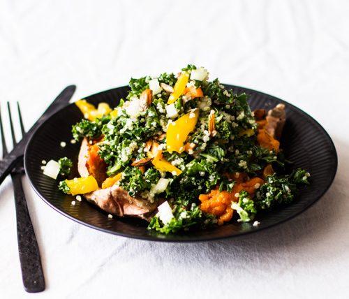 Kale and Quinoa Stuffed Sweet Potato Skins | The Full Helping