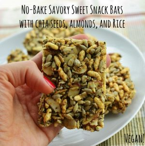 No Bake Savory Sweet Snack Bars with Chia Seeds, Almonds, and Rice