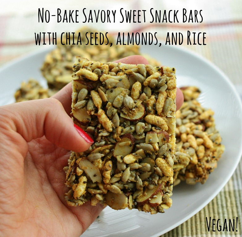 No Bake Savory Sweet Snack Bars with Chia Seeds, Almonds, and Rice | The Full Helping
