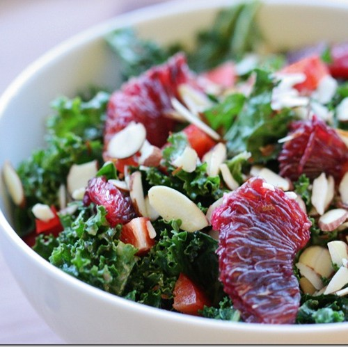 blood orange kale salad almonds