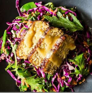 Seared asian tempeh salad w miso dressing