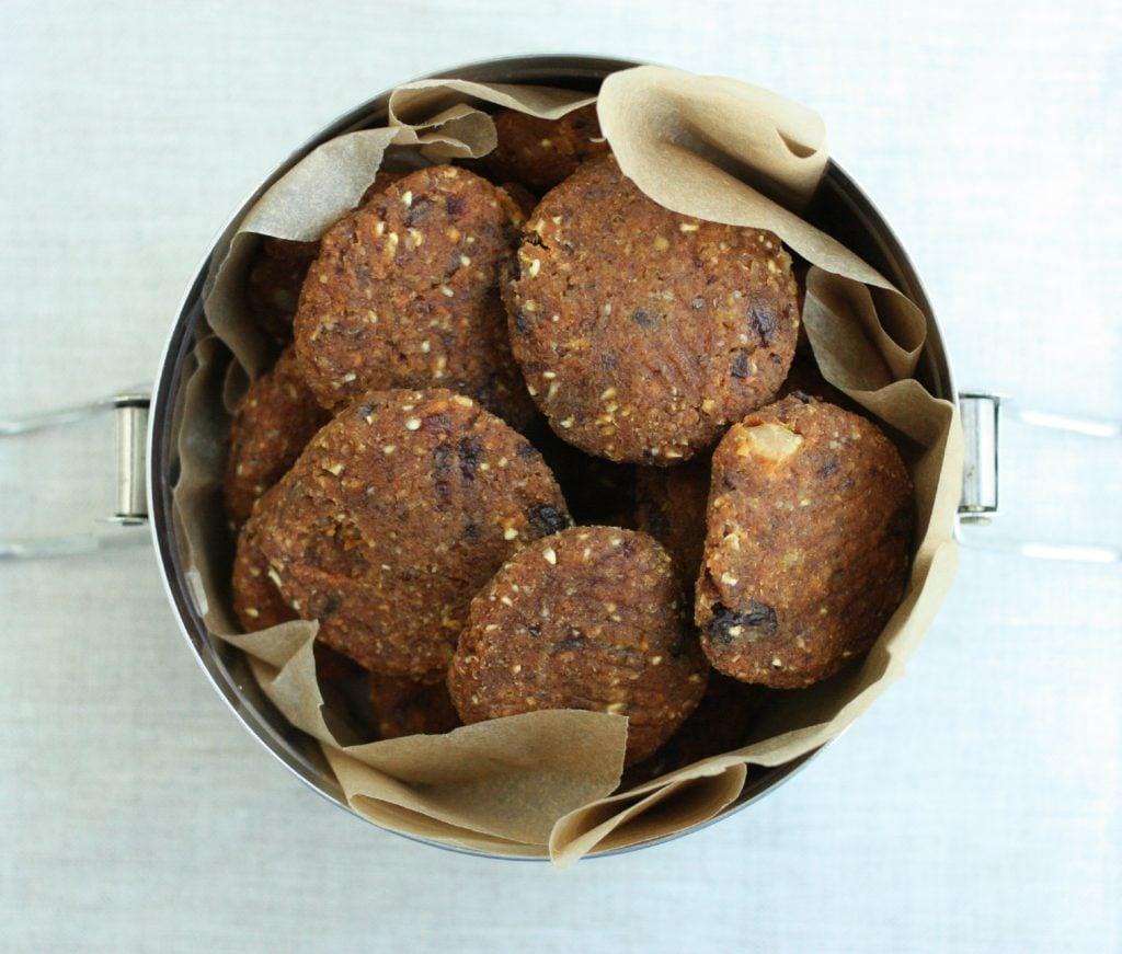 Raw, Vegan Carrot Raisin Walnut Cookies