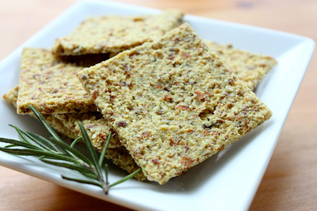 Raw Vegan Cheesy Almond Rosemary Crackers | The Full Helping