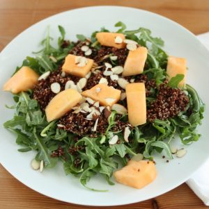Red Quinoa, Almond and Arugula Salad with Cantaloupe