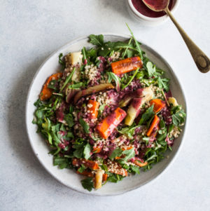 Roasted Carrot Fennel Quinoa Salad with Blueberry Chia Dressing