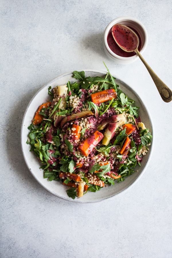 Roasted Carrot Fennel Quinoa Salad with Blueberry Chia Dressing | The Full Helping