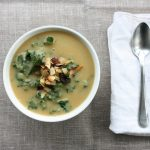 Roasted Rutabaga and Parsnip Soup with Kale and Coconut Bacon