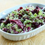 Shaved Brussels Sprout Salad with Cranberries and Pistachios