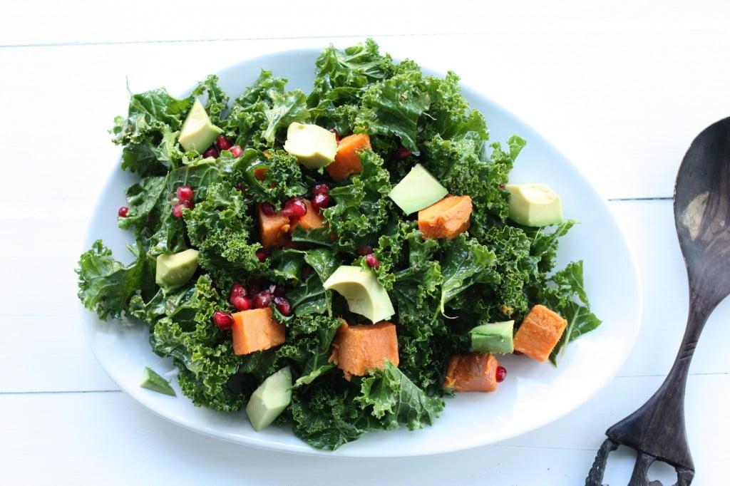 kale, sweet potato, pom salad birds eye