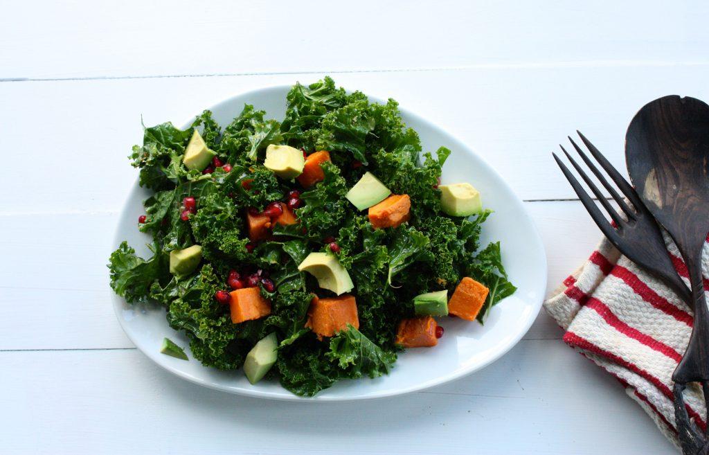 kale, sweet potato, pom salad header