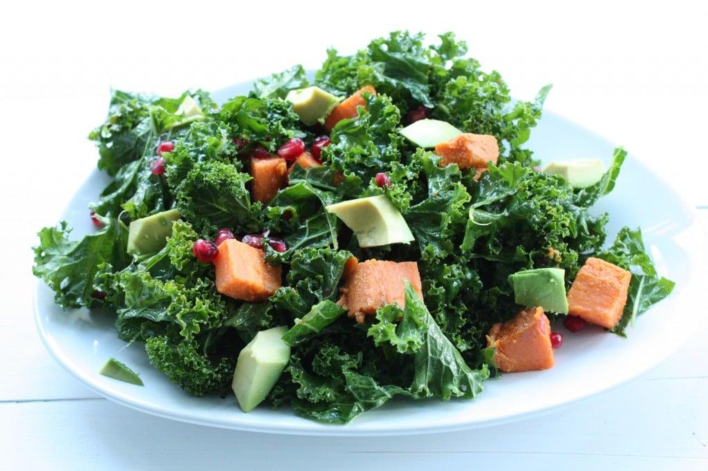 Kale Salad with Roasted Sweet Potato, Avocado, and Pomegranate Seeds ...