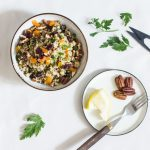 Quinoa Salad with Dried Cranberries, Apricots, Lentils, and Pecans