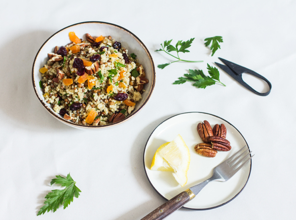 Quinoa Salad with Dried Cranberries, Apricots, Lentils, and Pecans | The Full Helping
