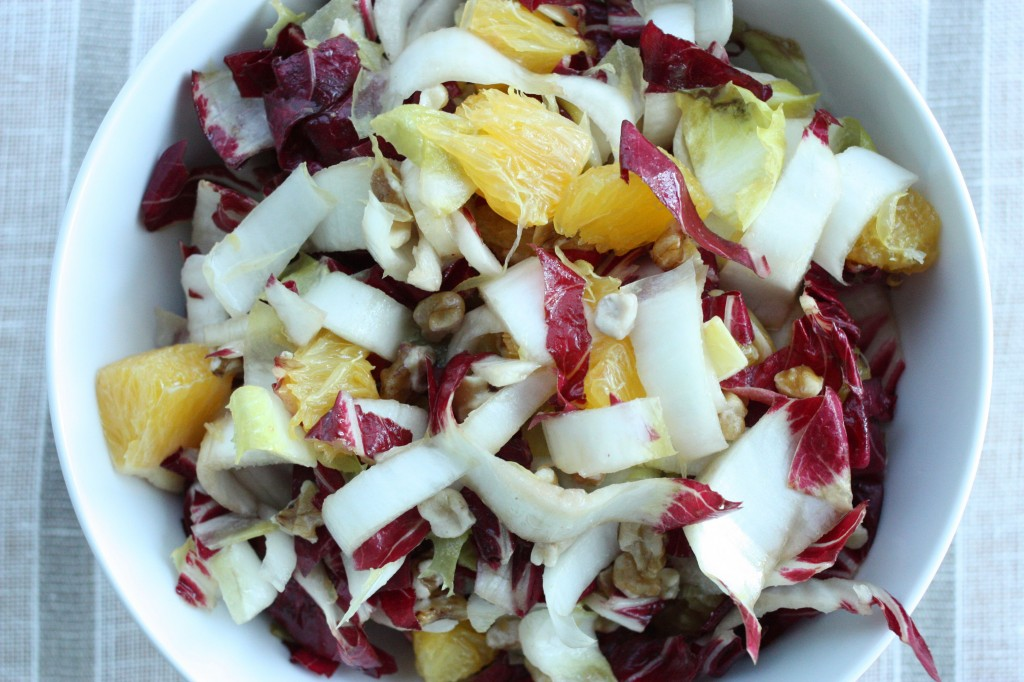 radicchio salad w endive orange walnuts close