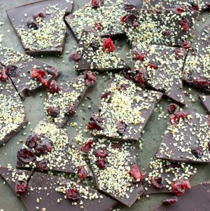 Raw, Vegan Chocolate Bark with Cranberries and Hemp Seeds