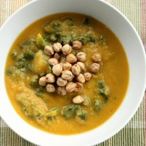Curried Red Lentil and Butternut Squash Soup with Kale and Toasted Chickpeas