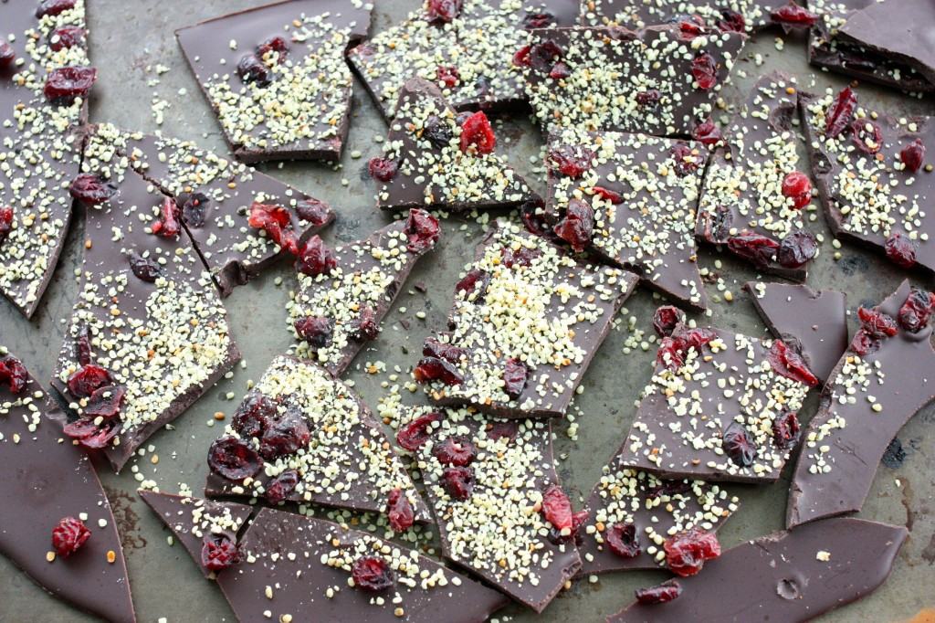 raw chocolate cranberry hemp bark broken