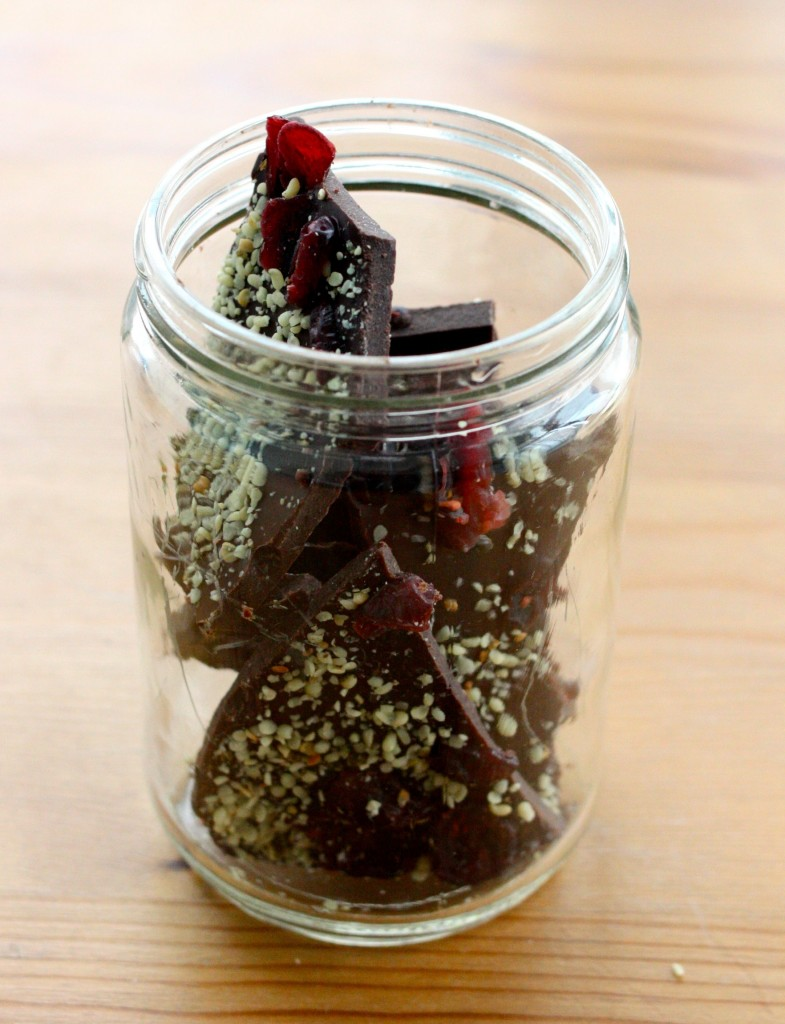 raw cranberry chocolate hemp bar jar